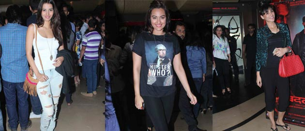Sonakshi Sinha and Nargis Fakhri at the special screening of 'Badlapur'