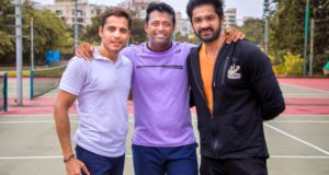 Leander Paes visits sports club in Mumbai, promotes his tennis team